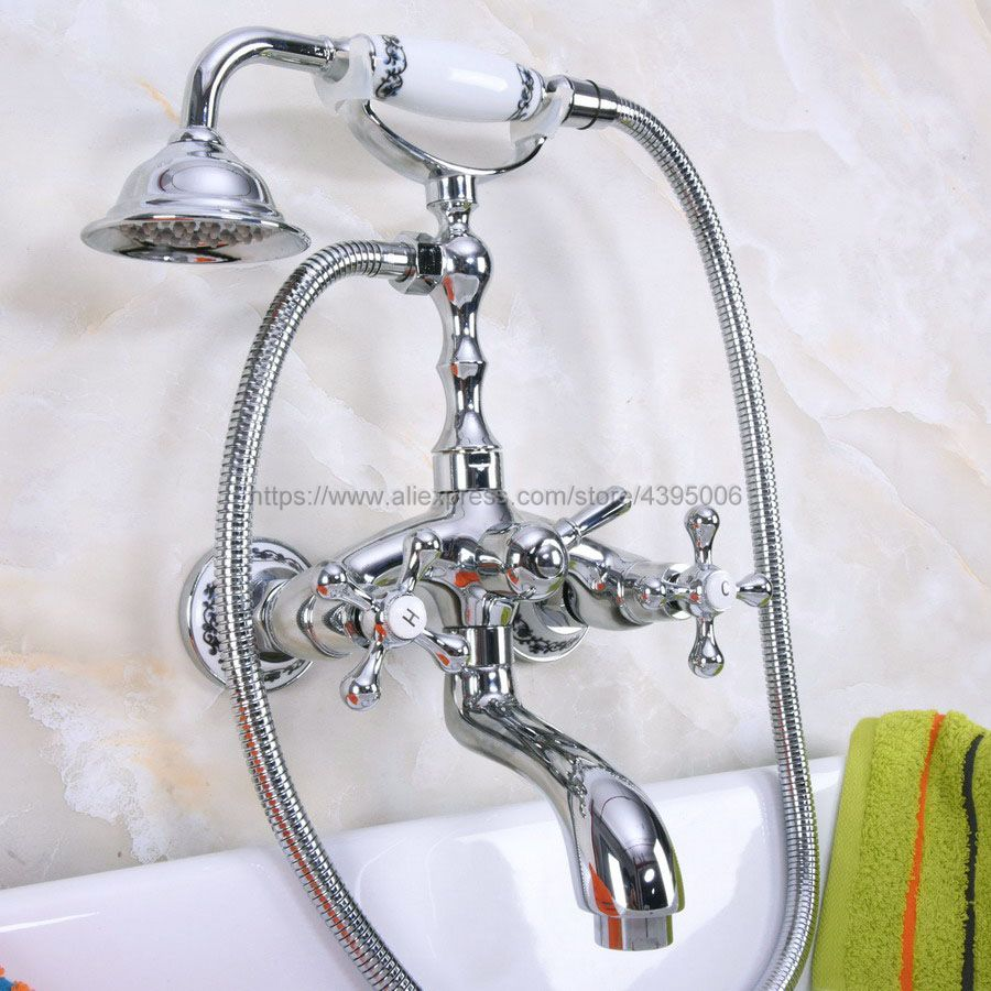 Polished Chrome Bathroom Dual Handle Bathtub Sink Faucet Wall Mounted Telephone Style Tub Mixer Taps with Hand Shower Bna196 high grade wall mounted telephone style bathtub faucet golden ceramic style bathroom tub mixer taps with hand shower