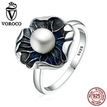VOROCO Vintage 100% Genuine 925 Sterling Silver Lotus Leaf & Pearl Finger Rings for Women Vintage Fine Jewelry Gift VSR059