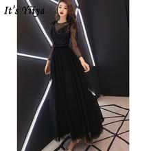 Prom Dresses Full Sleeve Sequin V-neck Strap Long Dresses Voile Sleeve Women Party Night Vestidos De Gala Plus Size 2019 E453