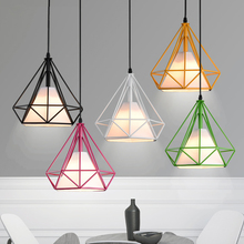 Modern 6 Color Black Birdcage Pendant Lights Iron Minimalist Scandinavian Loft Pyramid Lamps Metal Cage with Led Bulb
