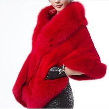 Brieuces new Winter lady warmth Imitation fox furs coat cloak imitation mink fur women shawl