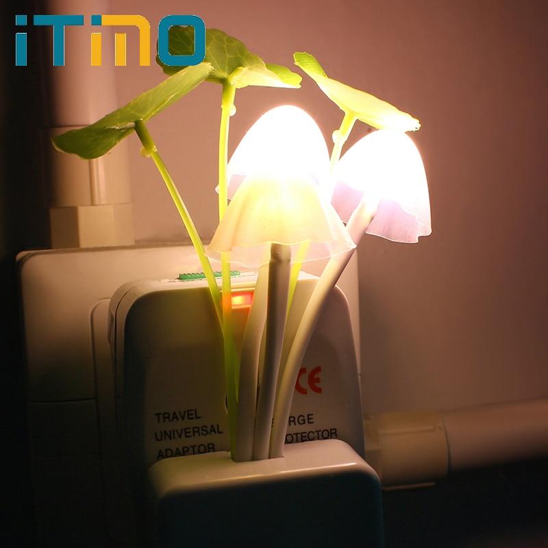 ITIMO 1Pcs US Plug Electric Induction Dream Romantic Colorful Sensor LED Mushroom Night Light Lamp Home Decor
