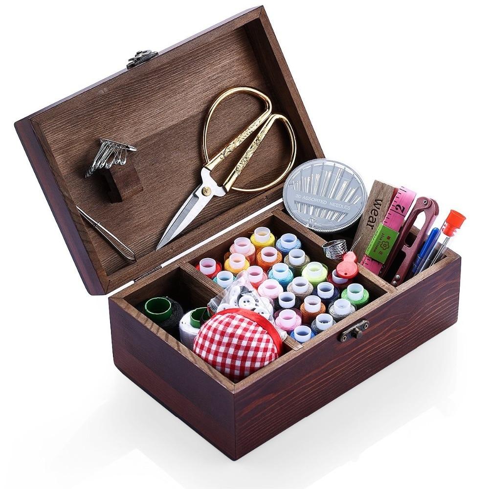 Household Sewing Kit Accessories Organizer Wooden Storage