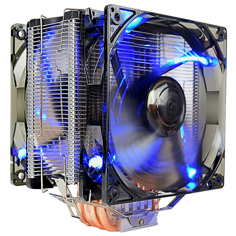 Pccooler x6 CPU cooler 5 heatpipes 12cm fan 4pin PWM led quiet fan for intel 775 115x AMD AM4 cpu cooling radiator Double fan cooler master 240 cpu liquid cooler two 120mm quiet fan compatible intel 2066 115x amd am4 cpu water cooling fan cooler