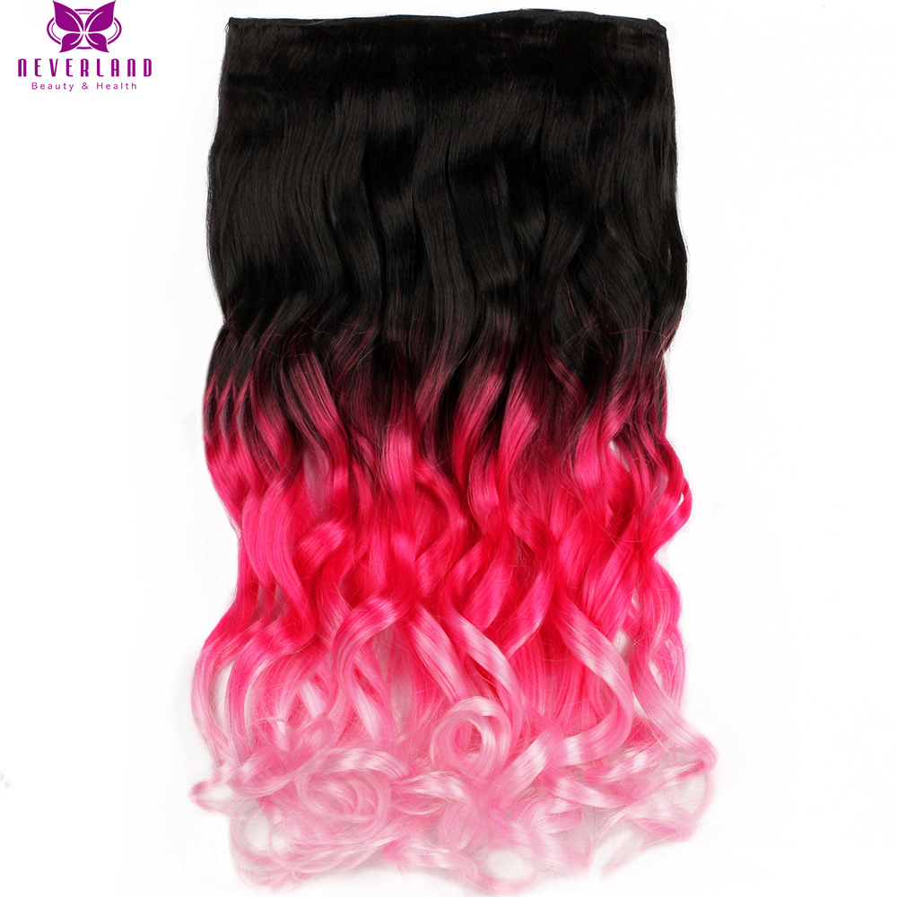 """Neverland 20"""" 50cm Long Wavy Pink Ombre Rainbow Clip In Hair Extensions Women Synthetic Hairpieces Free Shipping"""