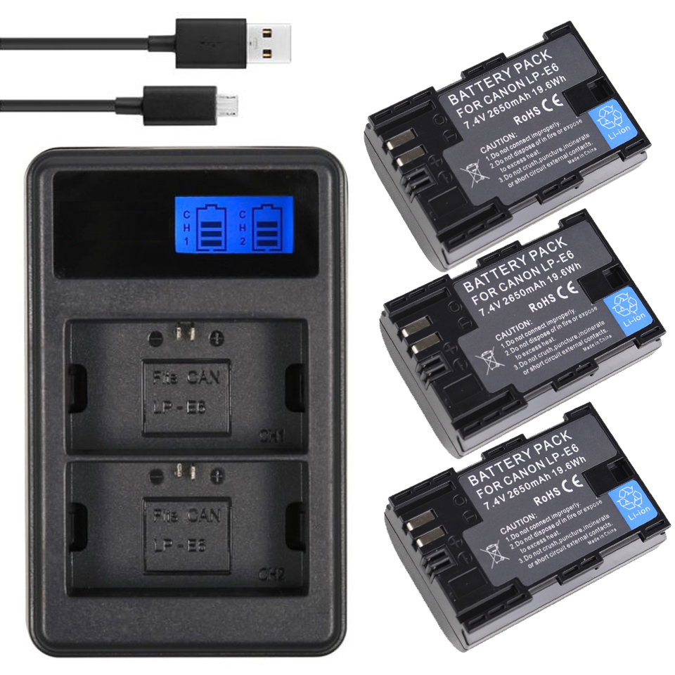 Powerextra LCD LP-E6 Battery Charger for Canon EOS 70D Mark III 5D Mark II 60D