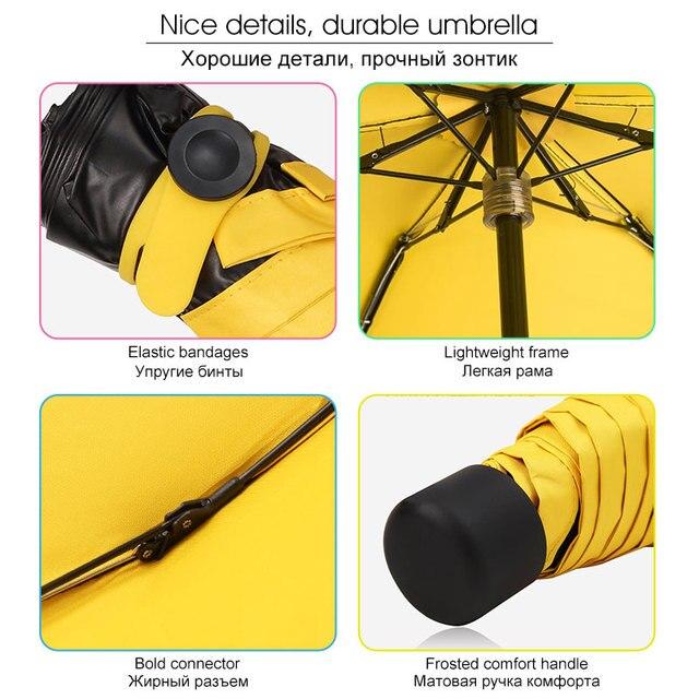 17 centimetri Super Leggero Mini Ombrello Pioggia Delle Donne Per Gli Uomini Bambini Pieghevoli Tasca Ragazze Ombrello Anti-Uv Impermeabile Portatile Da Viaggio Parasole 5