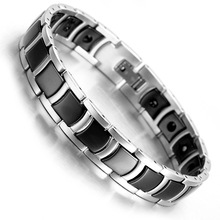 Tungsten Magnetic Hematite Mens Bracelet 8.2″ Black & Silver Health Care Jewelry B1372