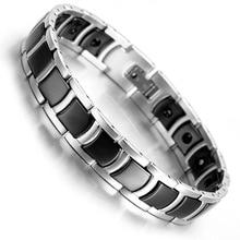 Tungsten Magnetic Hematite Mens Bracelet 8.2″ Black & Silver Health Care Jewelry B1372