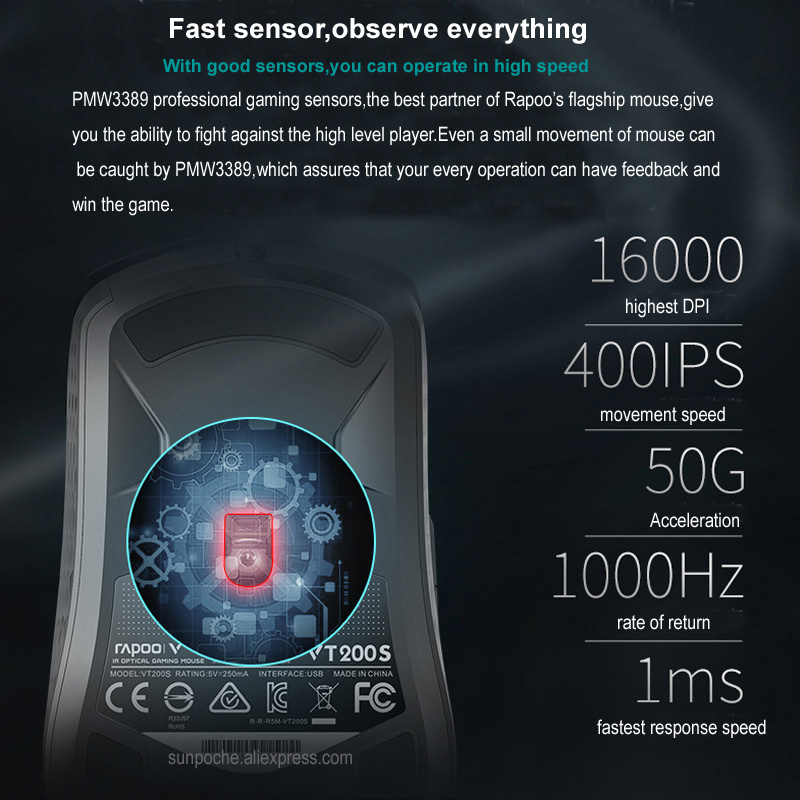 Rapoo Wired Gaming Mouse Mice 16000DPI 400IPS IR Optical Sensor VT  Customizable Chip RGB Backlit 8 Programmable Keys Ergonomic