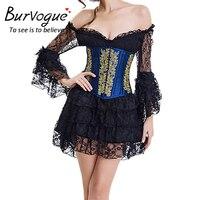 Burvogue Two Piece Corset Dress Corselet Corset Top and Lace Skirts Steampunk Waist Corsets Bustiers Waist Trainer Dress
