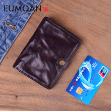 EUMOAN Retro leather mens small purse wash wrinkle effect leisure wallet can put the drivers license head layer cowhide