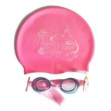 Милые детские Мультяшные шапочки для плавания, очки, комбинированный набор, водные виды спорта, PC, силиконовая шапочка для плавания, для девочек 1-5 лет,, D74007-D