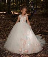 Elegant Trailing White Tulle Ball Gown Flower Girl Dress Butterfly First Communion Dress For Girls Kid Peagant Wedding Gown