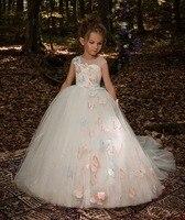 Elegant Trailing White Tulle Ball Gown Flower Girl Dress Butterfly First Communion Dress For Girls Kid Peagant Wedding Gown