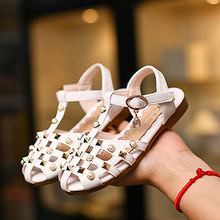 Kids Girls Shoes Fashion Rhinestone Rivets Dancing Shoes Princess PU Leather Elegent Imitation pearls Sandals Shoes For Girls