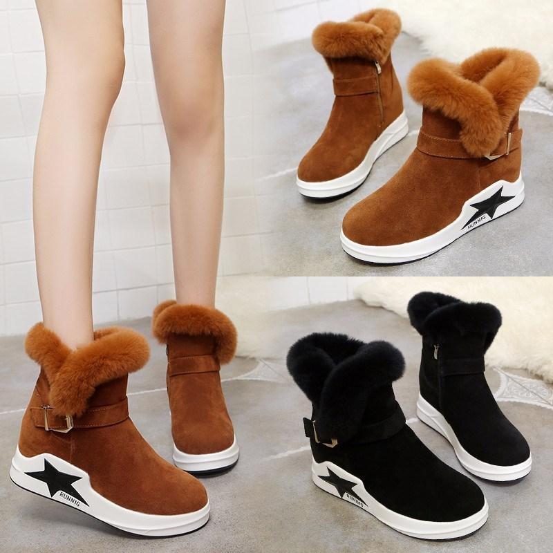 Invierno De Terciopelo Nieve Las Piel Conejo Shoes2018 marrón El  Antideslizante Negro Más Casual Botas Boca Mujeres ... 7382e1f2ac2d5