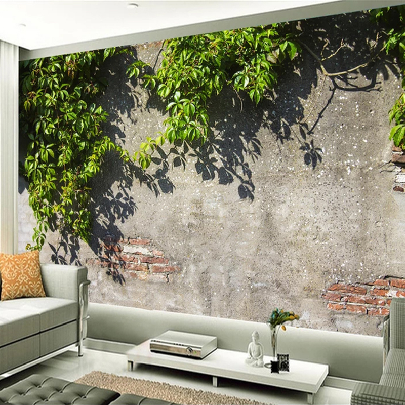 Custom Mural Wallpaper Tree Branches Green Leaves Brick Wall 3D Wallpaper For Living Room Cafe Restaurant Wall Decor Painting