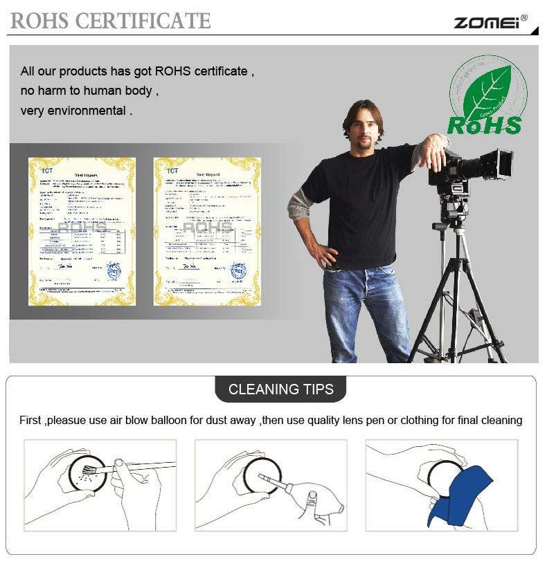 Zomei 49/52/55/58/62/67/72/77/82 Fader Variable ND Filter Adjustable 9-Stops ND2-400 Neutral Density Lens Filter for DSLR Camera 11