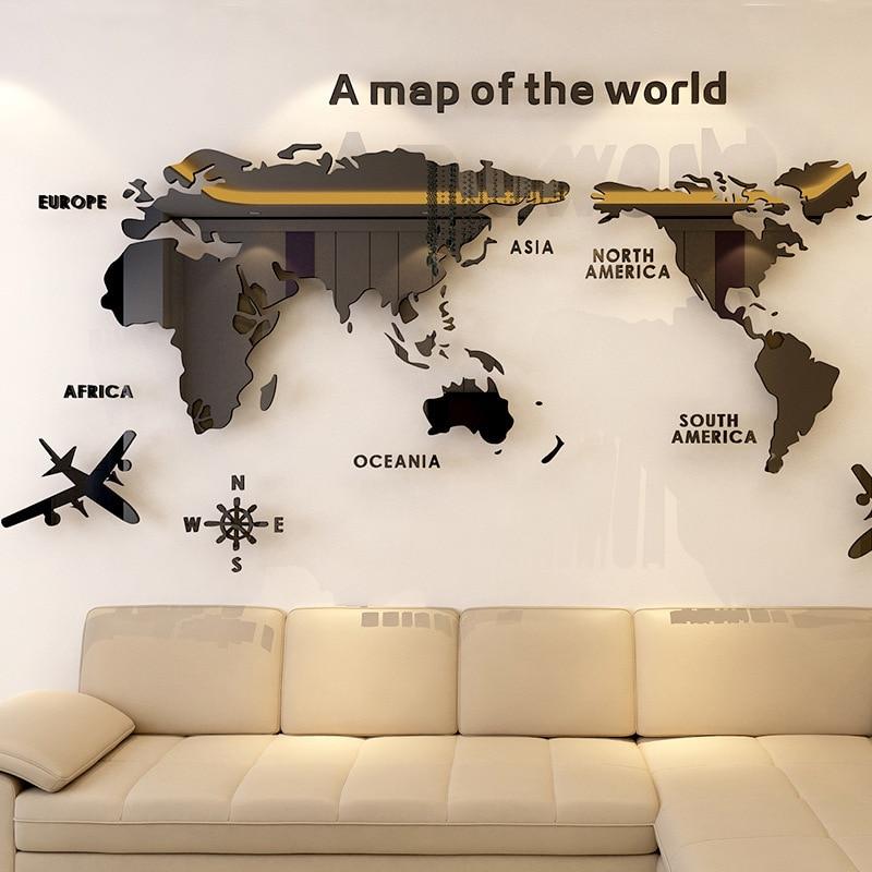 Карта мира акриловая 3D однотонная Хрустальная стена для спальни с гостиной классные наклейки идеи для украшения офиса
