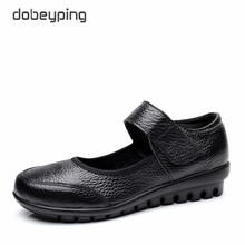 New Arrival Flats Shoes Woman Genuine Leather Women Casual Shoes Buckle Strap Mother Loafers Non-Slip Women's Walking Footwear whensinger 2018 new spring new shoes buckle strap flats genuine leather fashion design 8567
