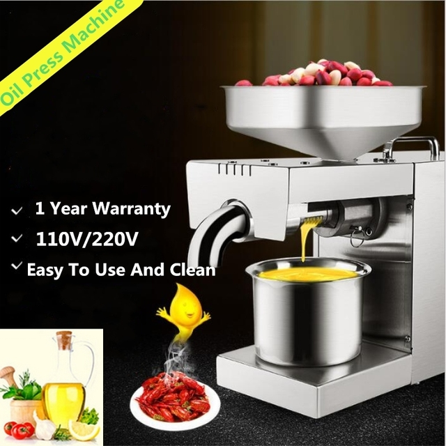 Mini 220V/110V Heat And Cold Home Oil Press Machine Peanut, Cocoa Soy Bean  Oil Press Machine High Oil Extraction Rate