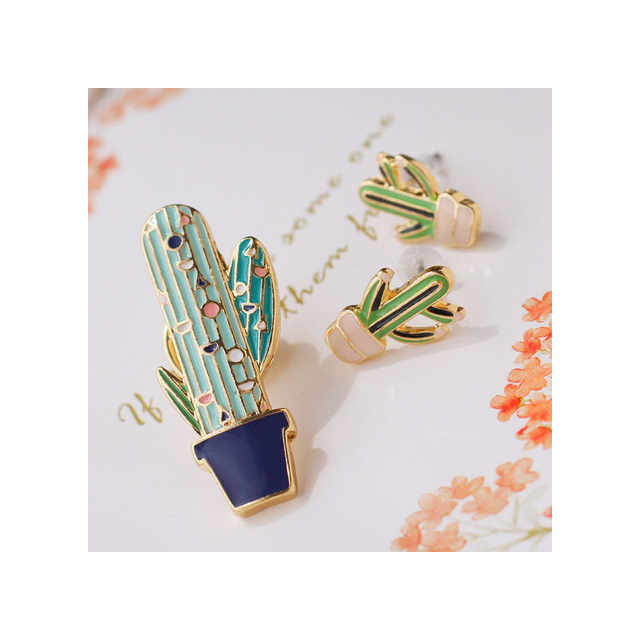 1pcs LINYI Cactus Pin Vintage Enamel Brooch Funny Plant Earrings Brooches Sweater Coat Shirt Hat Clip Badge