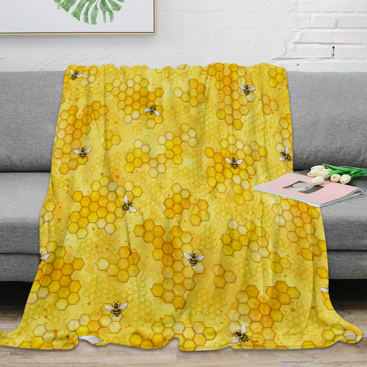 Meant to Bee Honey Bees Pattern Throw Blanket Warm Microfiber Blanket Flannel Blanket Bedroom Decor Blankets For Beds image