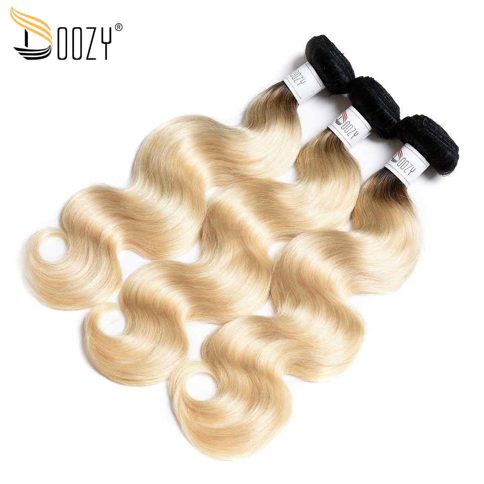 Doozy ombre 1b/613 Brazilian body wave hair bundles 2 tone black root russian blonde non remy 100% human hair weaving