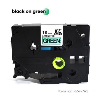 CIDY 30pcs/lot Tze 741 TZ 741 TZ741 TZE741 Black on green Laminated Label Tape Compatible for Brother P touch tz-741 tze-741