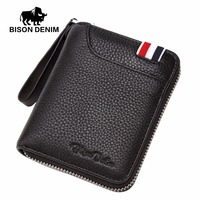 BISON DENIM Luxury Genuine Leather Men Wallets Business Casual Male Brand Small Zipper Purse Wallet