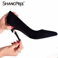 SHANGPREE Брендовая женская обувь женские туфли на высоком каблуке 3,5 8,5 см ботинки на каблуках складной на высоком каблуке пикантные черные сап