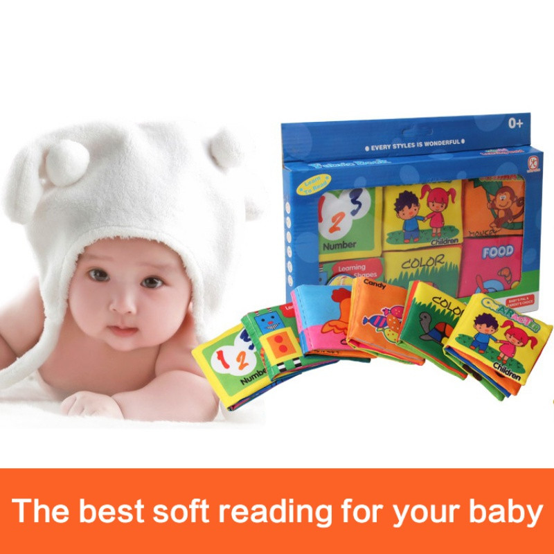 0-12 Months Newborn Crib Bed Baby Toy Soft Cloth Books Rustle Sound Infant Educational Stroller Rattle Toys