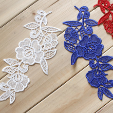 5Pairs Off White Red Blue Black Fabric Venise Venice Lace Mirror Flower Motif Sewing Applique 21*10cm
