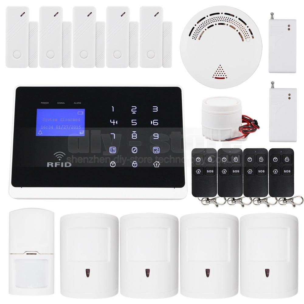DIYSECUR Pet Friendly PIR Smoke Sensor Android IOS App Wireless GSM Autodial Home Office Burglar Intruder