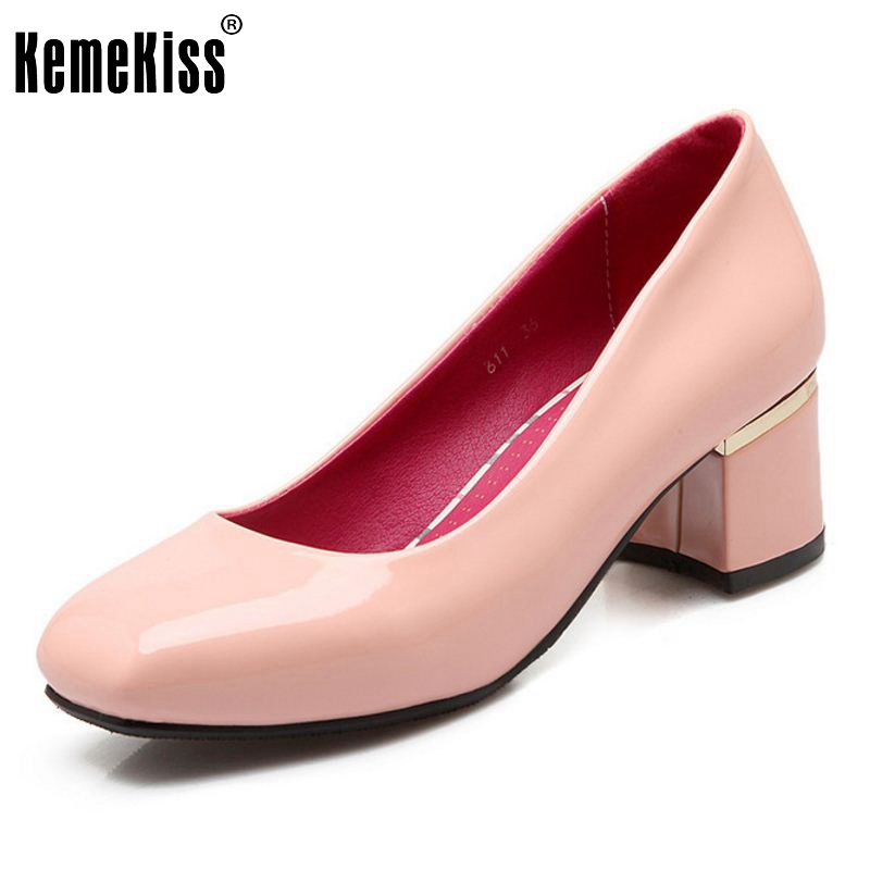 Size 31-46 Fashion Wedding Pumps Sexy High Heel Shoes Brand Design Square Heels Shoes Woman Pointed Toe Women Party Shoes купить