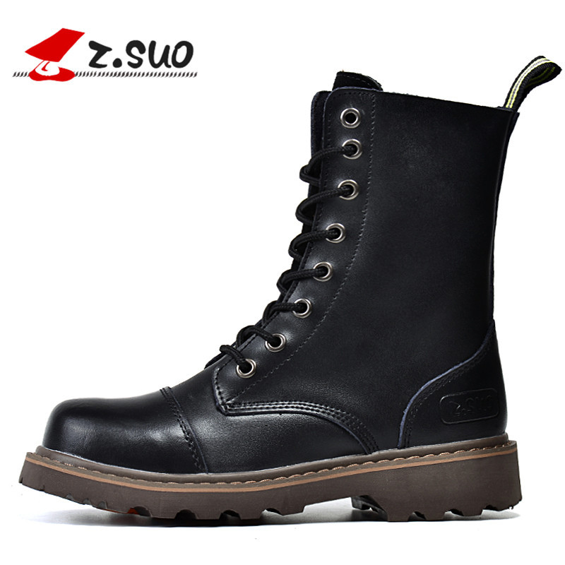 Z.Suo Brand 2017 British Style Genuine Leather Women Motorcycle Boots High Top Martin Boots Old Vintage Boots Retro Botas Mujer