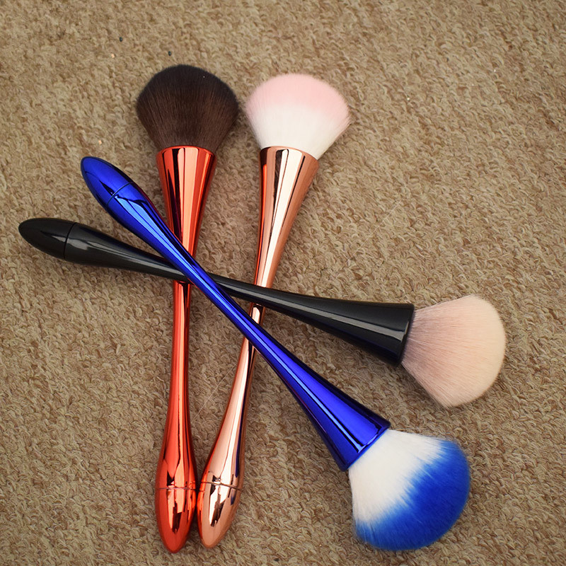 Image 5 - Single Powder Foundation Makeup Brush Rose Gold Soft Blush Blending Brush Face Beauty Tools Goblet Shape Red Blue Cosmetic Brush-in Eye Shadow Applicator from Beauty & Health