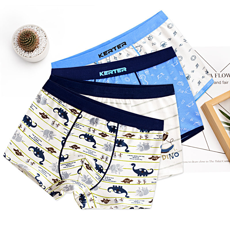 4 Pcs High Quality Children's Underwear for Kids Cartoon Cat Shorts Soft Cotton Underpants Boys Teenage Striped Panties 4-16T title=