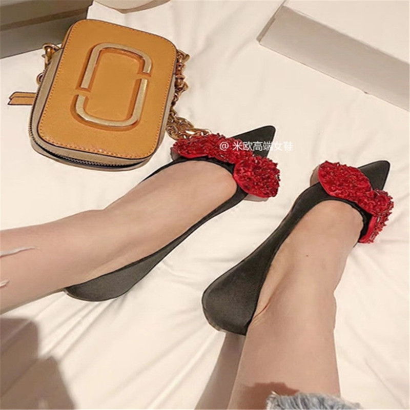 Chaussures Femmes Feminino Cristal Noce Bout Pic Pour Bowtie Appartements Sandales Zapatos As Mujer Strass as De Pic Dames Sapato Pointu qA5tS5