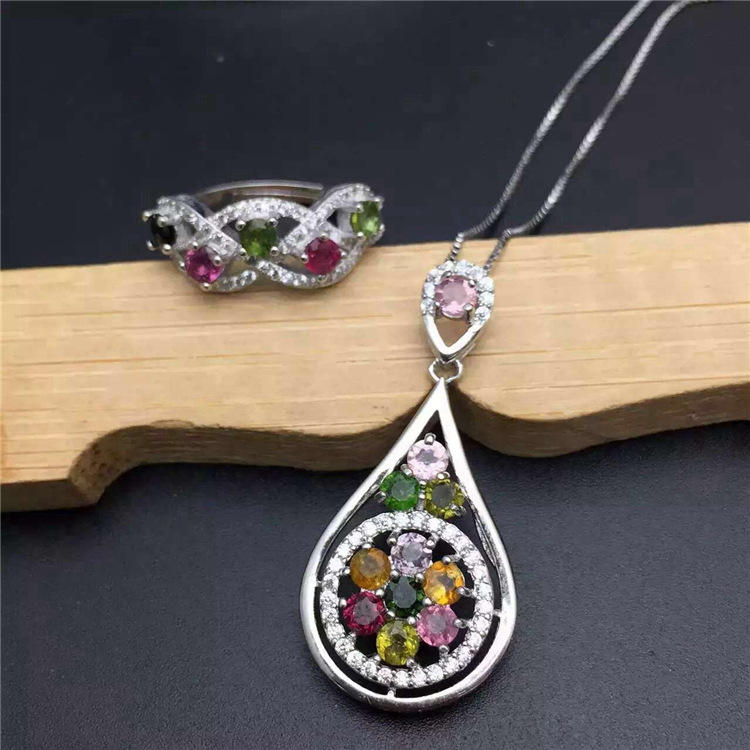 KJJEAXCMY boutique jewels S925 sterling silver inlaid with natural tourmaline pipa girl suit jewelry gold silver kjjeaxcmy boutique jewels 925 sterling silver plated rose gold with natural tourmaline collarbone necklace chain