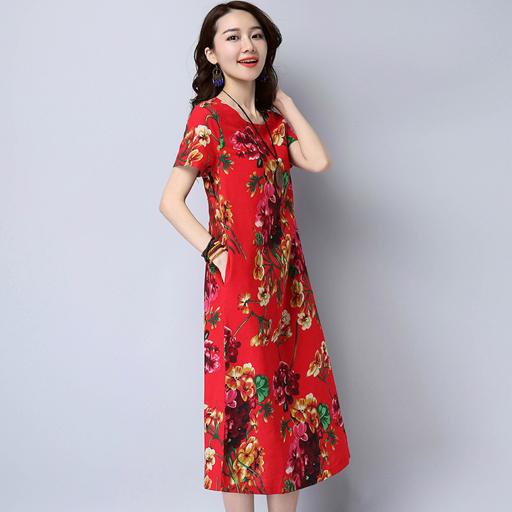 83685c95186 EaseHut Summer New Women Cotton Dress Floral Printed O Neck Short Sleeve  Casual Loose Vintage Midi Dresses Plus Size 5XL Vestido-in Dresses from  Women s ...