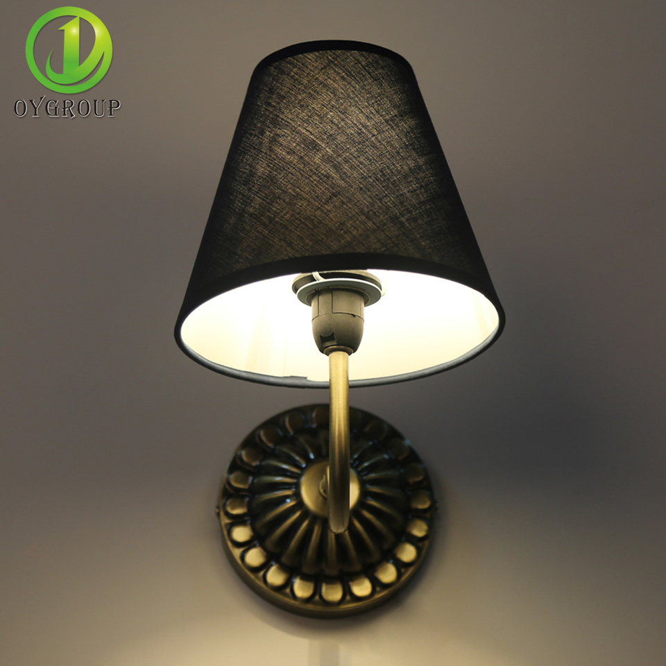 2 Piece Lot Vintage Led Wall Lamp Linen Lampshade Indoor