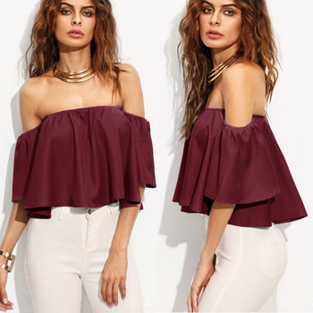 Sexy arrival Women Summer Loose Off Shoulder Tops Flare Short Sleeve Blouse Ladies Casual Tops Solid Red Blue White 2