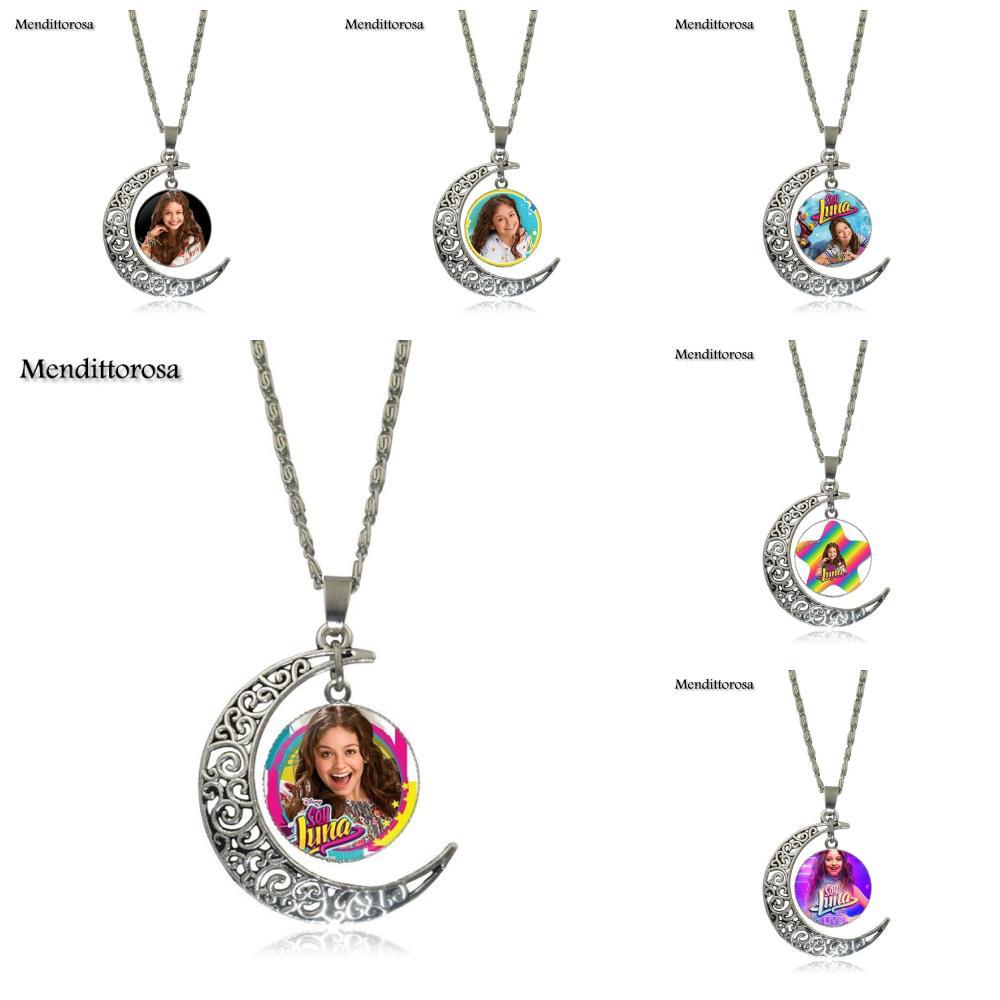Mendittorosa Necklace Fashion Long Chain With Crescent Shaped Necklace Jewelry Super Pop Singer Soy Luna collana con segno zodiacale