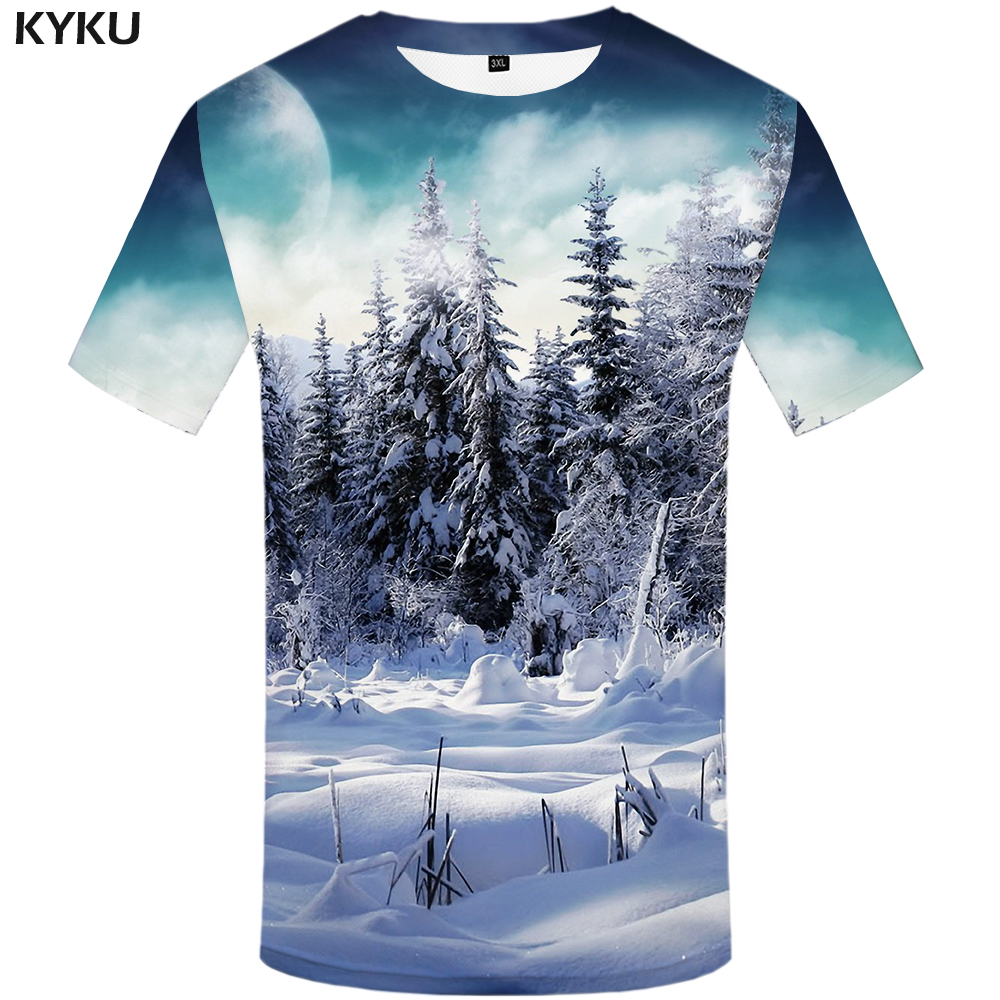 KYKU Brand Forest T Shirt Men Snow T-shirts 3d Moon Tshirt Printed Harajuku Shirt Print Anime Clothes Mens Clothing Punk Rock
