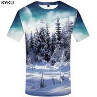 Marka kyku las T koszula mężczyzna śnieg koszulki 3d księżyc Tshirt drukowane koszula harajuku druku ubrania anime odzież męska Punk Rock