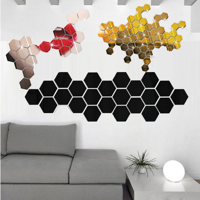 12Pcs/set Hexagon Acrylic Mirror Wall Stickers DIY Art Wall Decor Stickers 3D Home Decor Living Room Mirrored Decorative Sticker