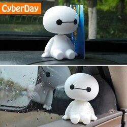 Мультяшный пластиковый робот Baymax, качающаяся голова, фигурка автомобиля, украшения для салона автомобиля, большой герой, кукла, игрушки для ...