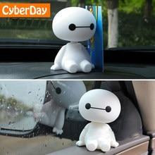 Cartoon Plastic Baymax Robot Hoofd Schudden Figuur Auto Ornamenten Auto Interieur Decoraties Grote Hero Pop Speelgoed Ornament Accessoires
